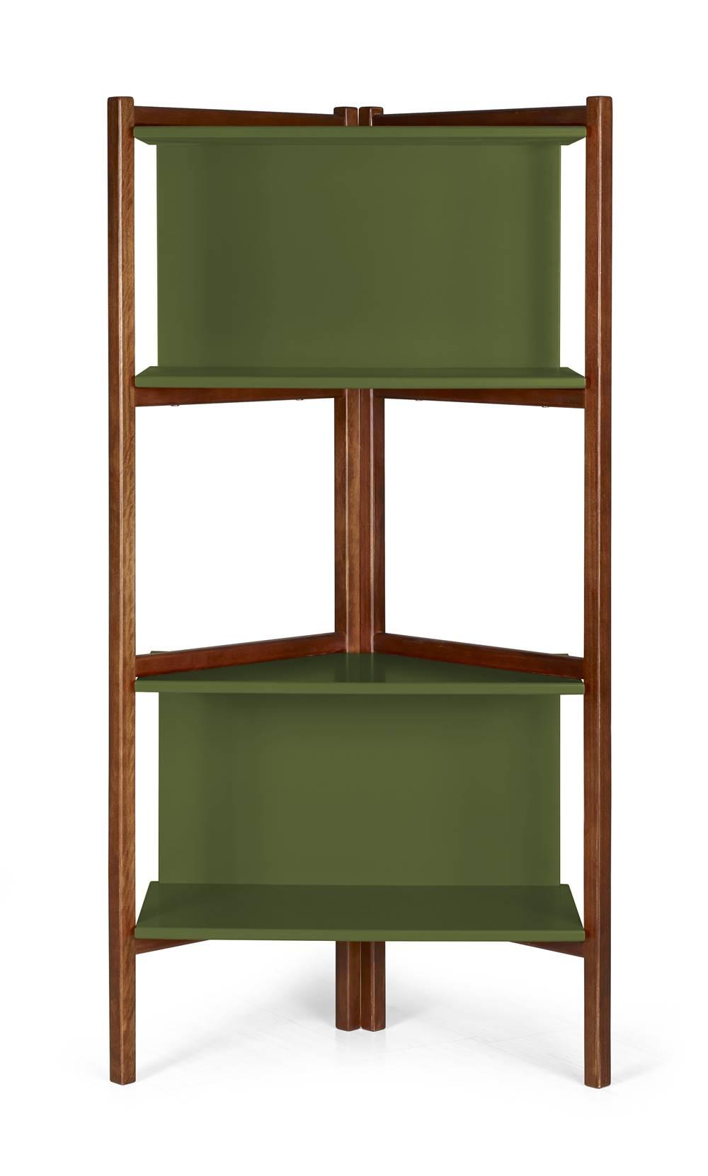 Estante Easy Cor Cacau Com Verde Escuro - 29000