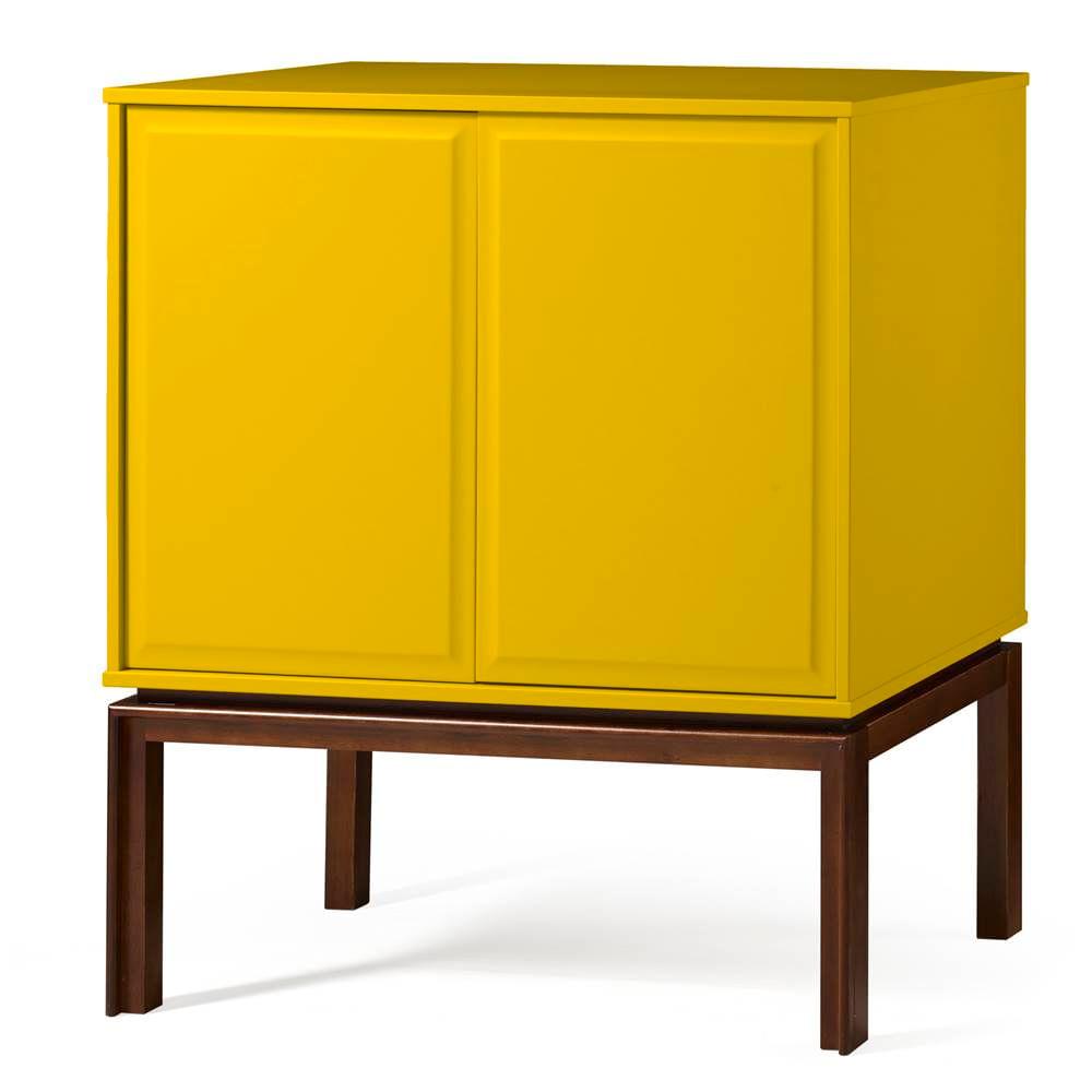 Adega Quartzo 2 Portas Cor Cacau Com Amarelo - 29121