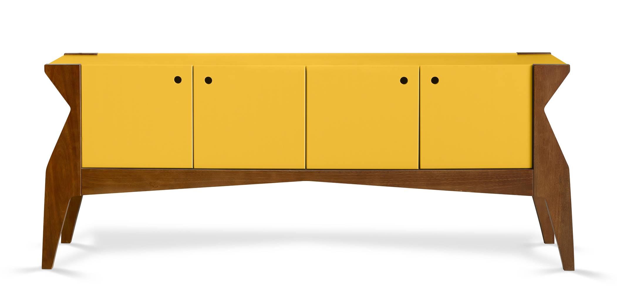 Buffet Brasa 4 Portas Cor Cacau Com Amarelo - 29361