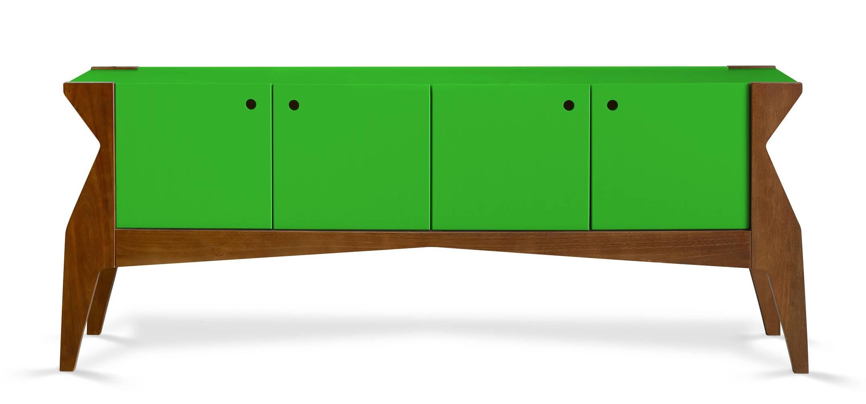Buffet Brasa 4 Portas Cor Cacau Com Verde - 29371
