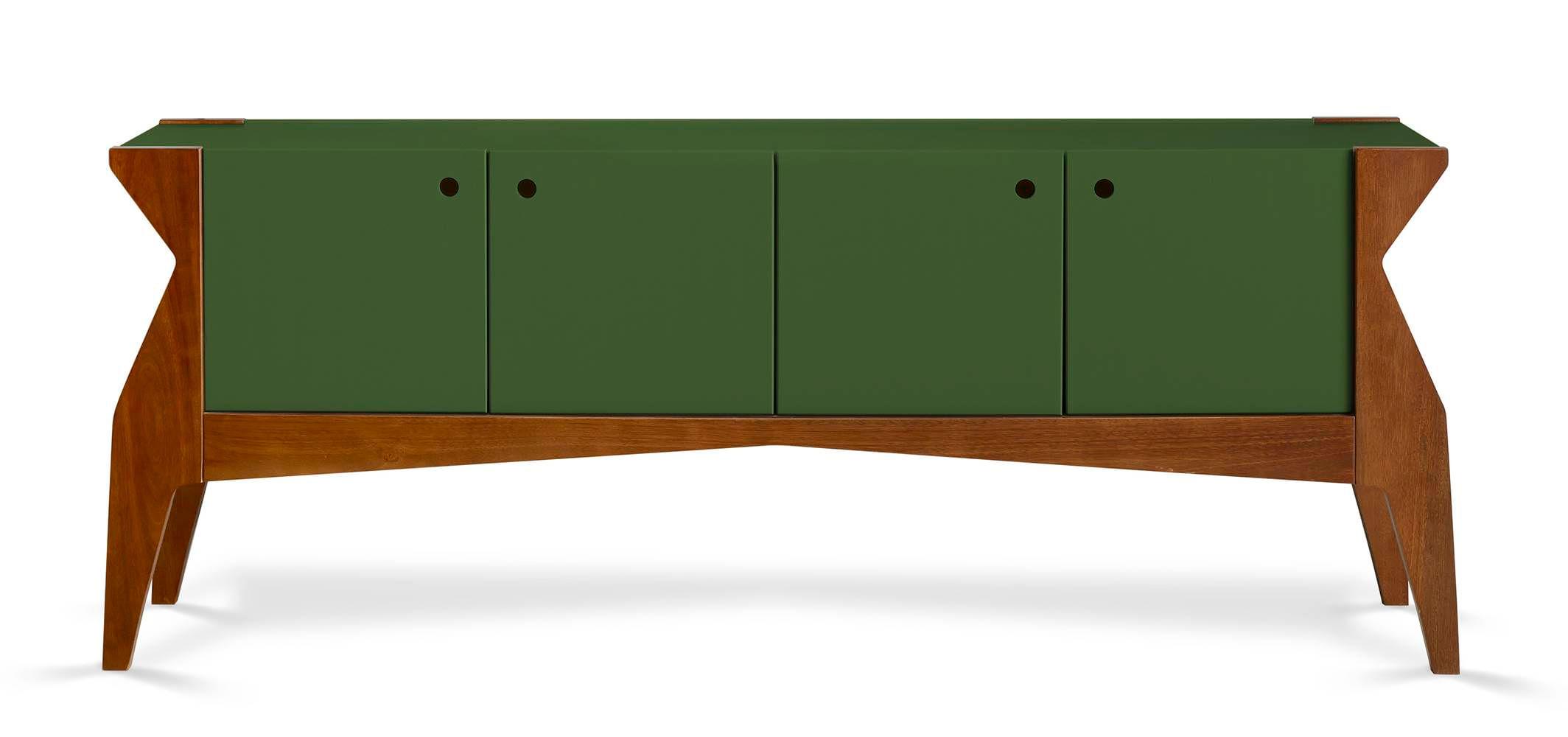 Buffet Brasa 4 Portas Cor Cacau Com Verde Escuro - 29372