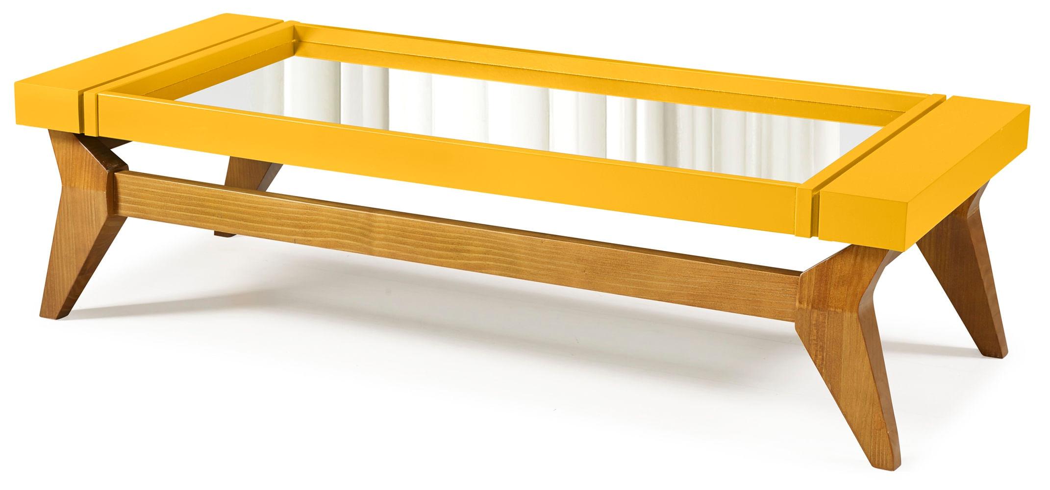Mesa de Centro Crystal Cor Amendoa Com Amarelo - 29808