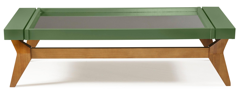 Mesa de Centro Crystal Cor Amendoa Com Verde Escuro - 29809