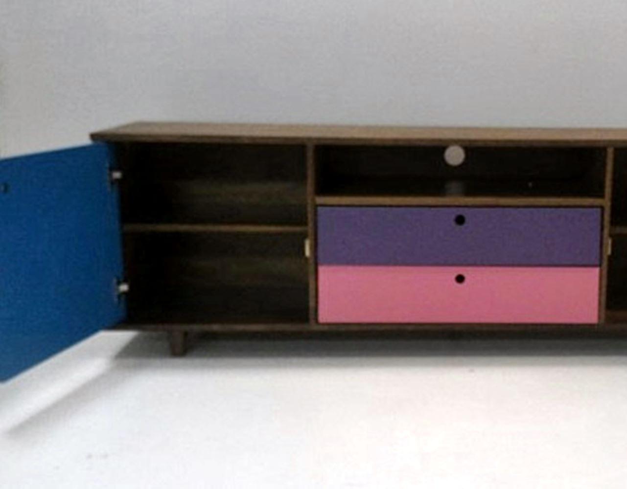 Rack Vintage Com 2 Gavetas Amendoa/Rosa/Roxo - 29539