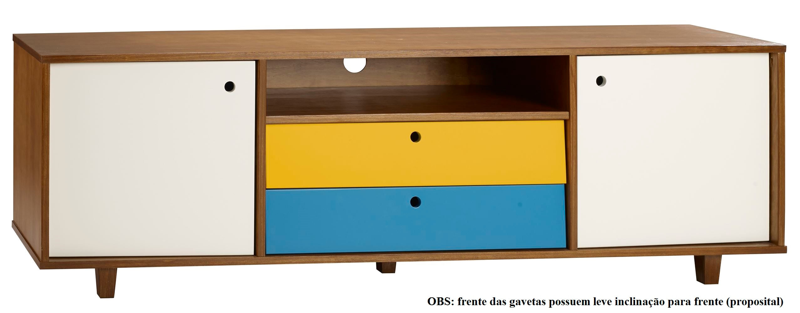 Rack Vintage Com 2 Gavetas Amendoa/Branco/Azul  - 30156