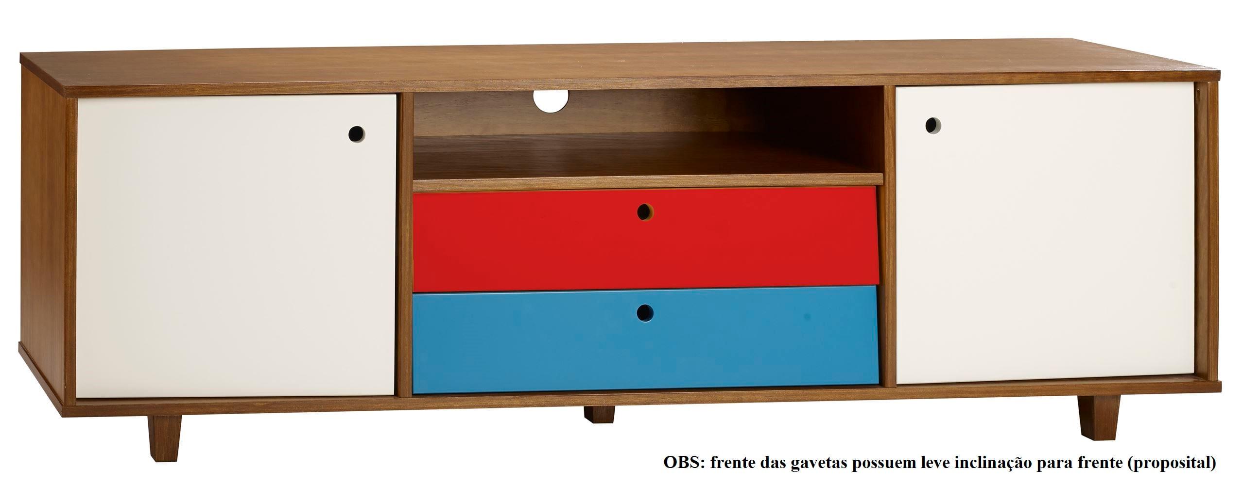 Rack Vintage Com 2 Gavetas Amendoa/Branco/ Vermelho - 30157