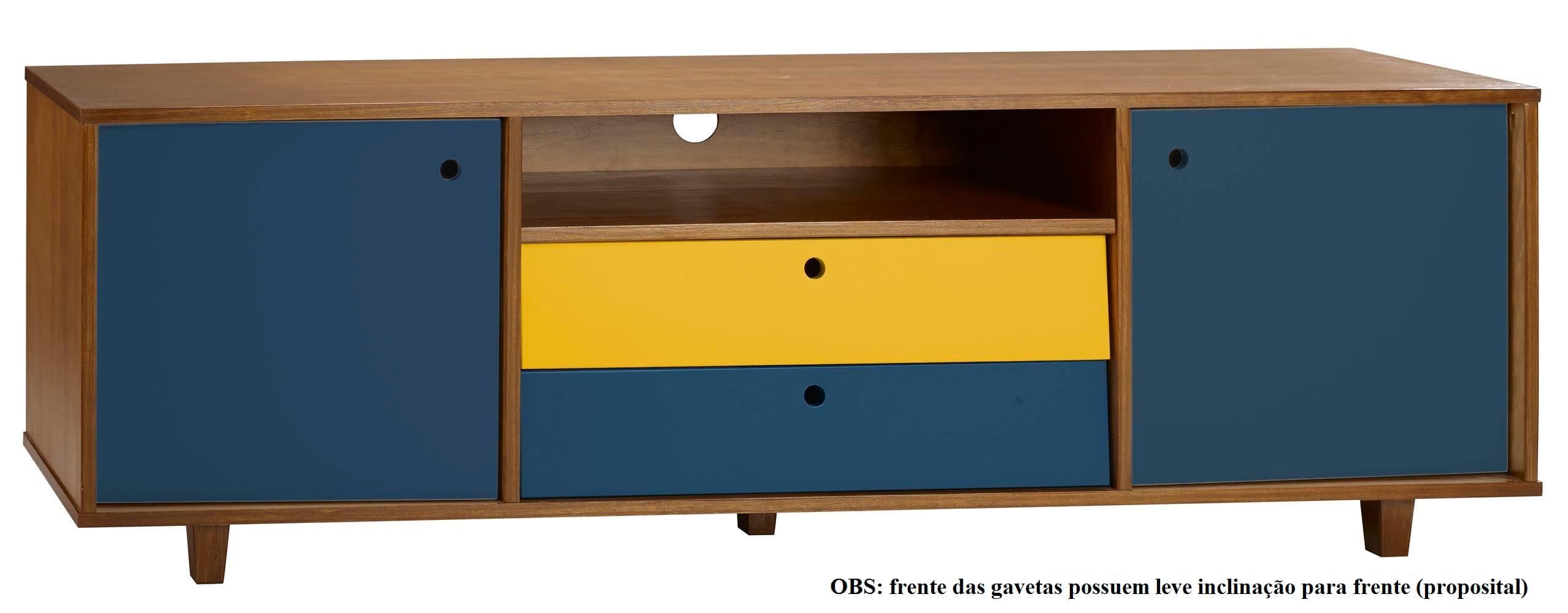 Rack Vintage Com 2 Gavetas Amendoa/Marinho/Amarelo - 30158