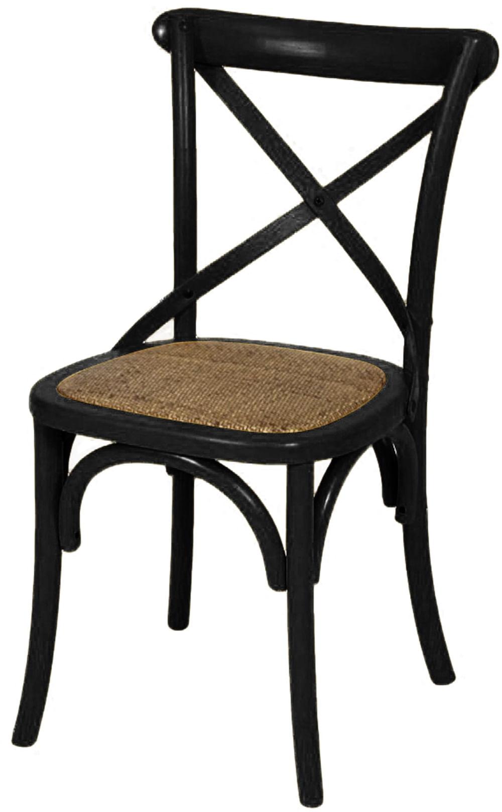 Cadeira Katrina Preta Laqueada com Assento Rattan - 30748