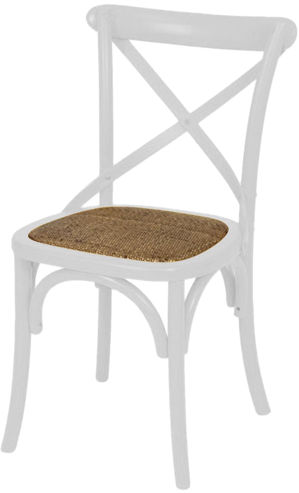 Cadeira Katrina Branca Laqueada com Assento Rattan  - 30749