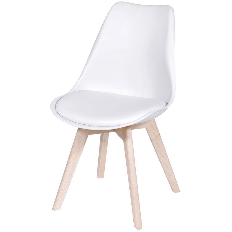 Cadeira Eames Leda 1108 Branca Base Madeira - 32067