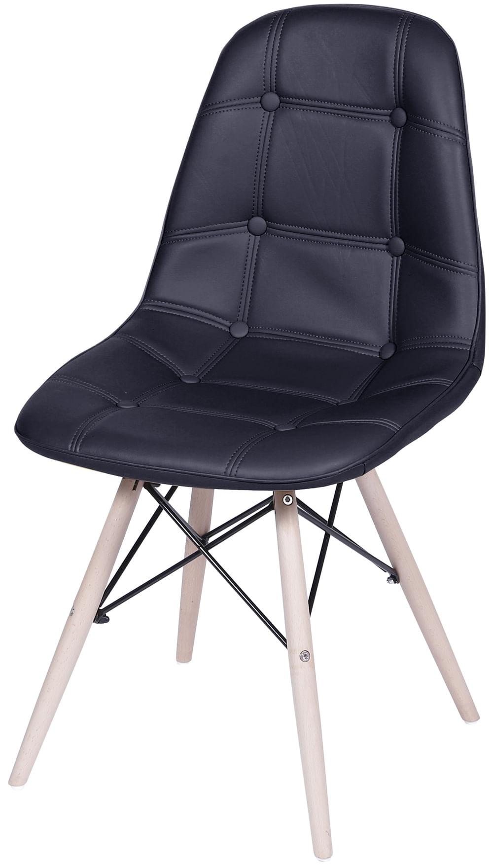 Cadeira Eames Botone Preta Base Madeira - 32074