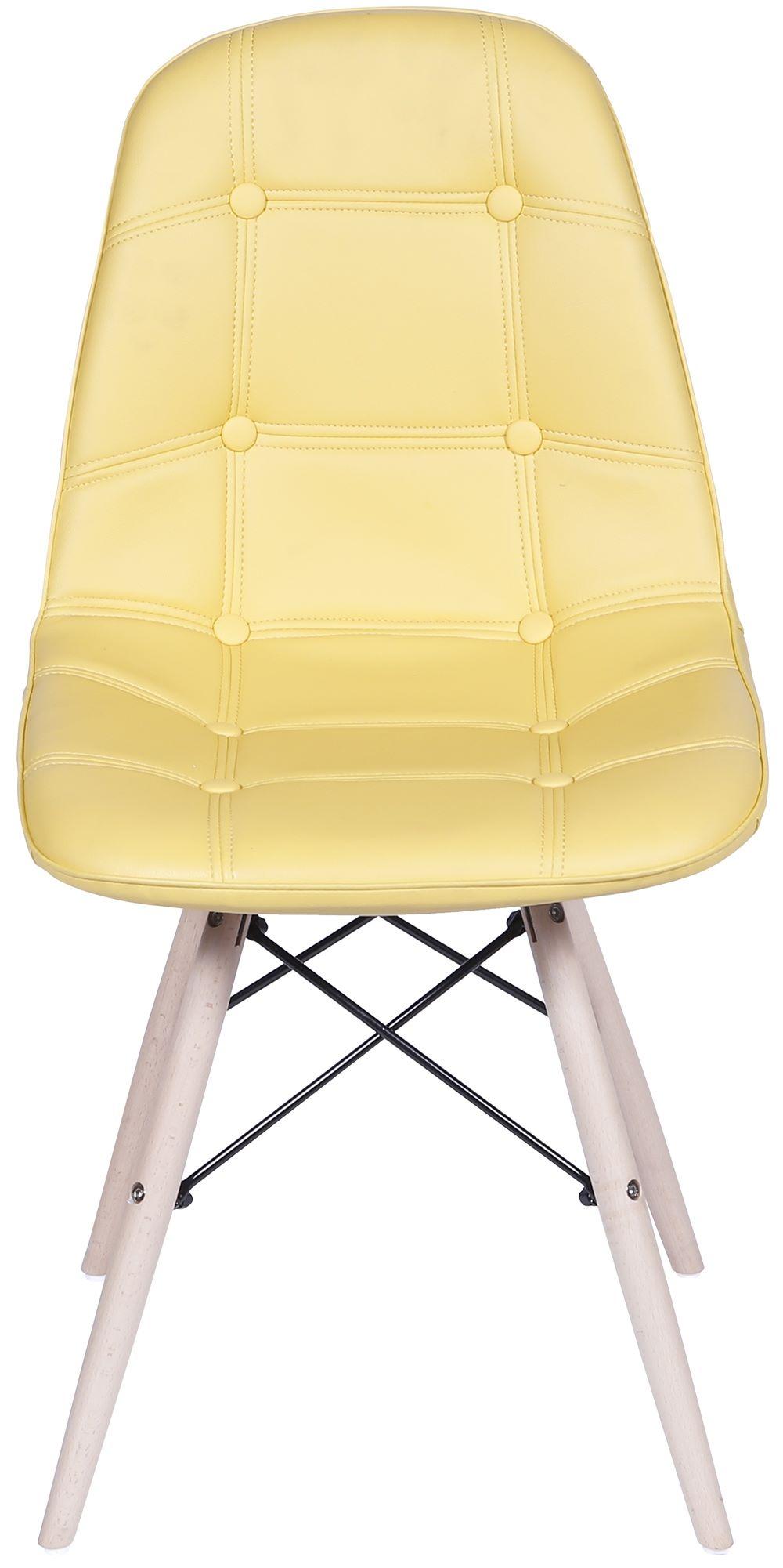 Cadeira Eames Botone Amarela Base Madeira - 32945