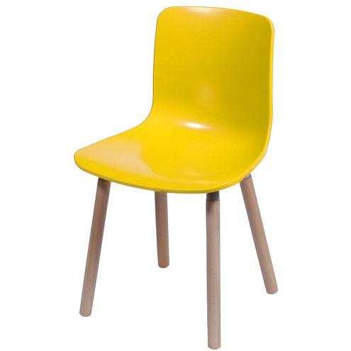 Cadeira-Polipropileno-Amarelo-Fosco-Base-Madeira---33768-