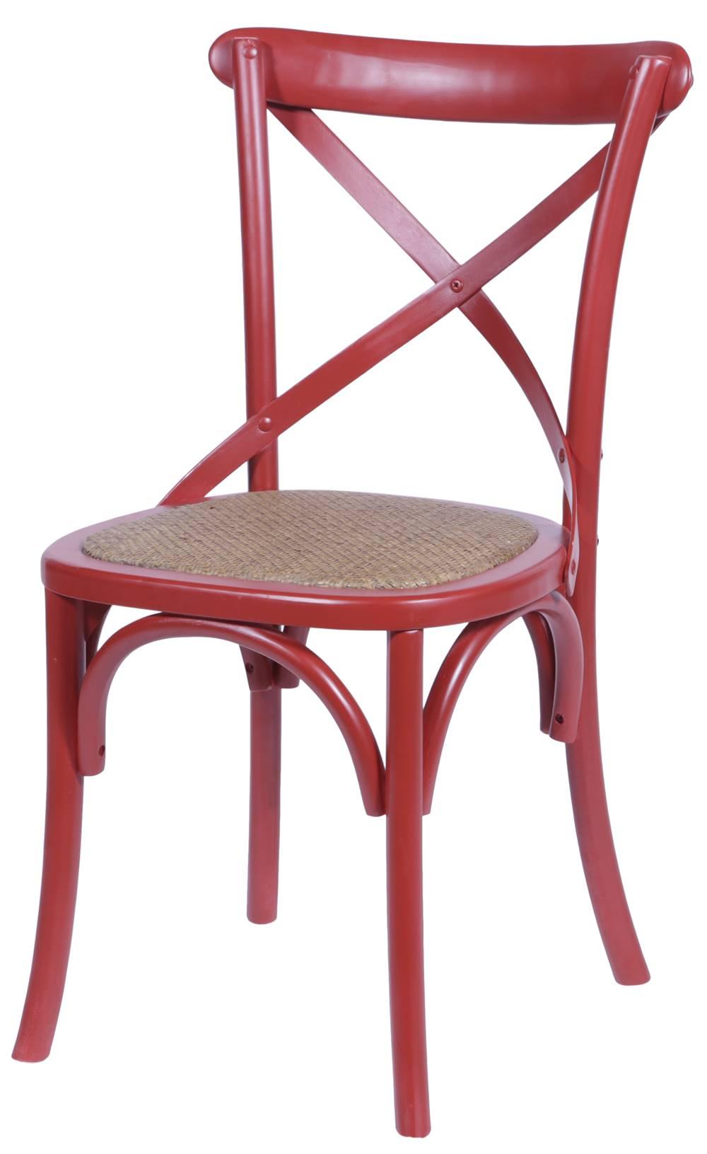 Cadeira Katrina Vermelha Laqueada com Assento Rattan  - 30751
