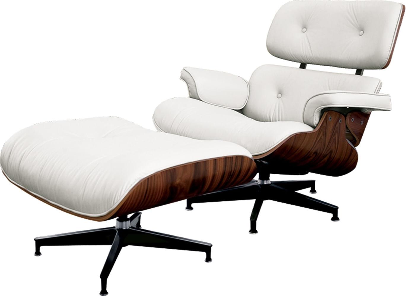 Poltrona Charles Eames com Puff Couro Natural Branco - 34560