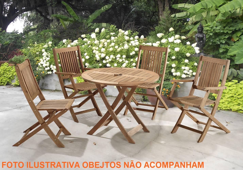 Mesa Dobravel Redonda Primavera Stain Canela  90 cm - 34758