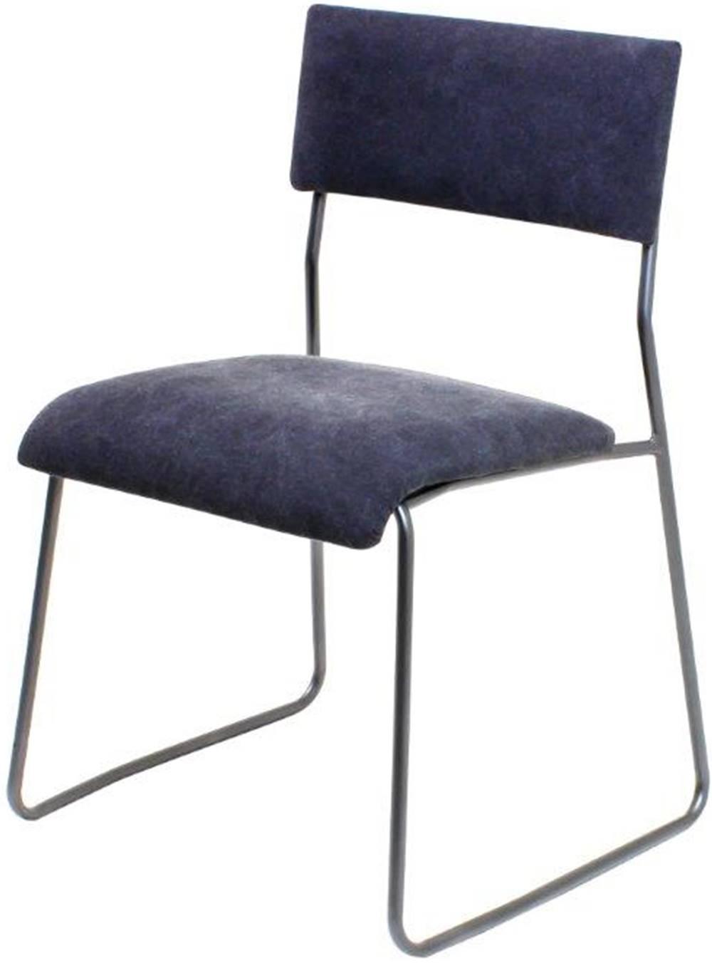 Cadeira Lampa Estofada Lona Preta Base Aco Bruto - 35653