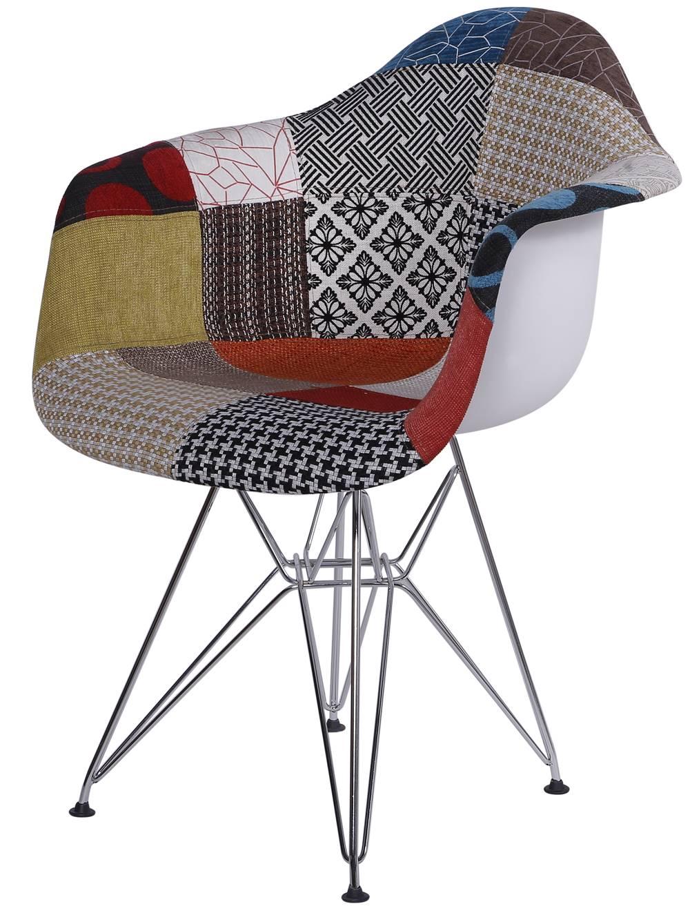 Cadeira Eames com Braco Base Cromada Patchwork - 36399