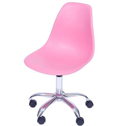 Cadeira Eames com Rodizio Polipropileno Rosa Pink - 36754