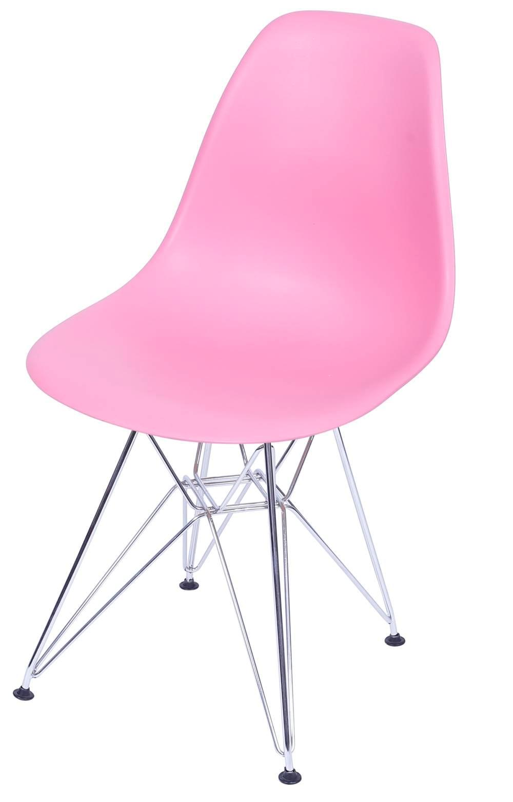 Cadeira Eames Polipropileno Rosa Pink Cromada - 36752