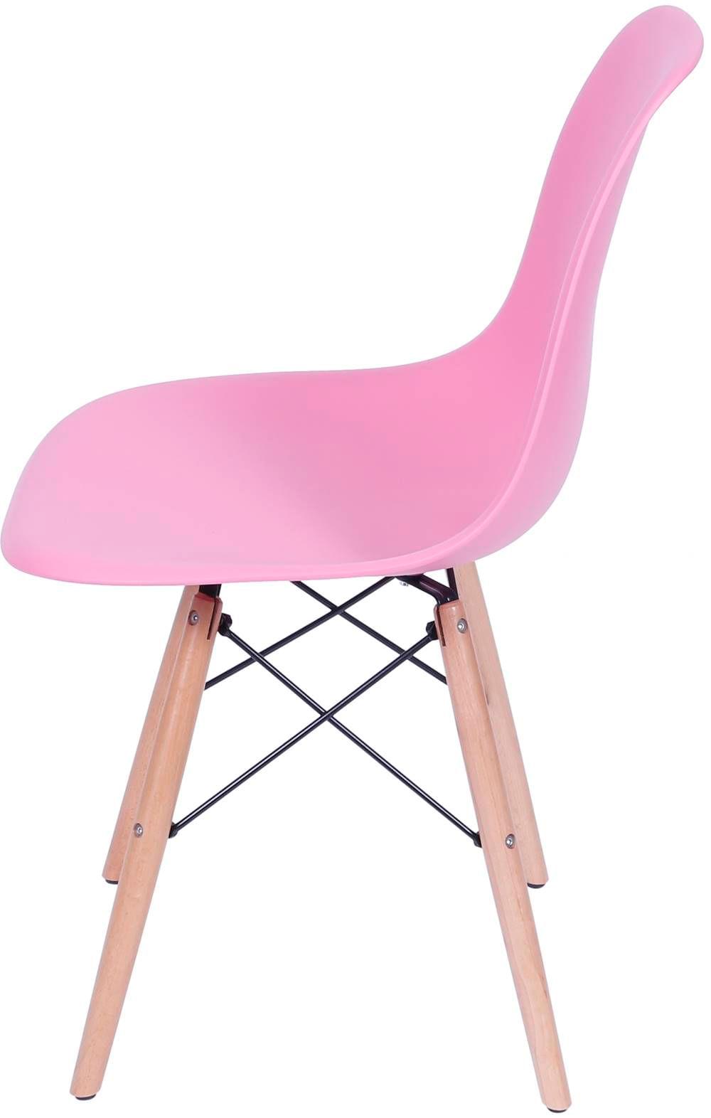 Cadeira Eames Polipropileno Rosa Pink Base Madeira - 36753