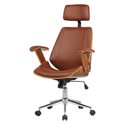 Cadeira-Office-Lisboa-PU-Marrom-Base-Cromada-