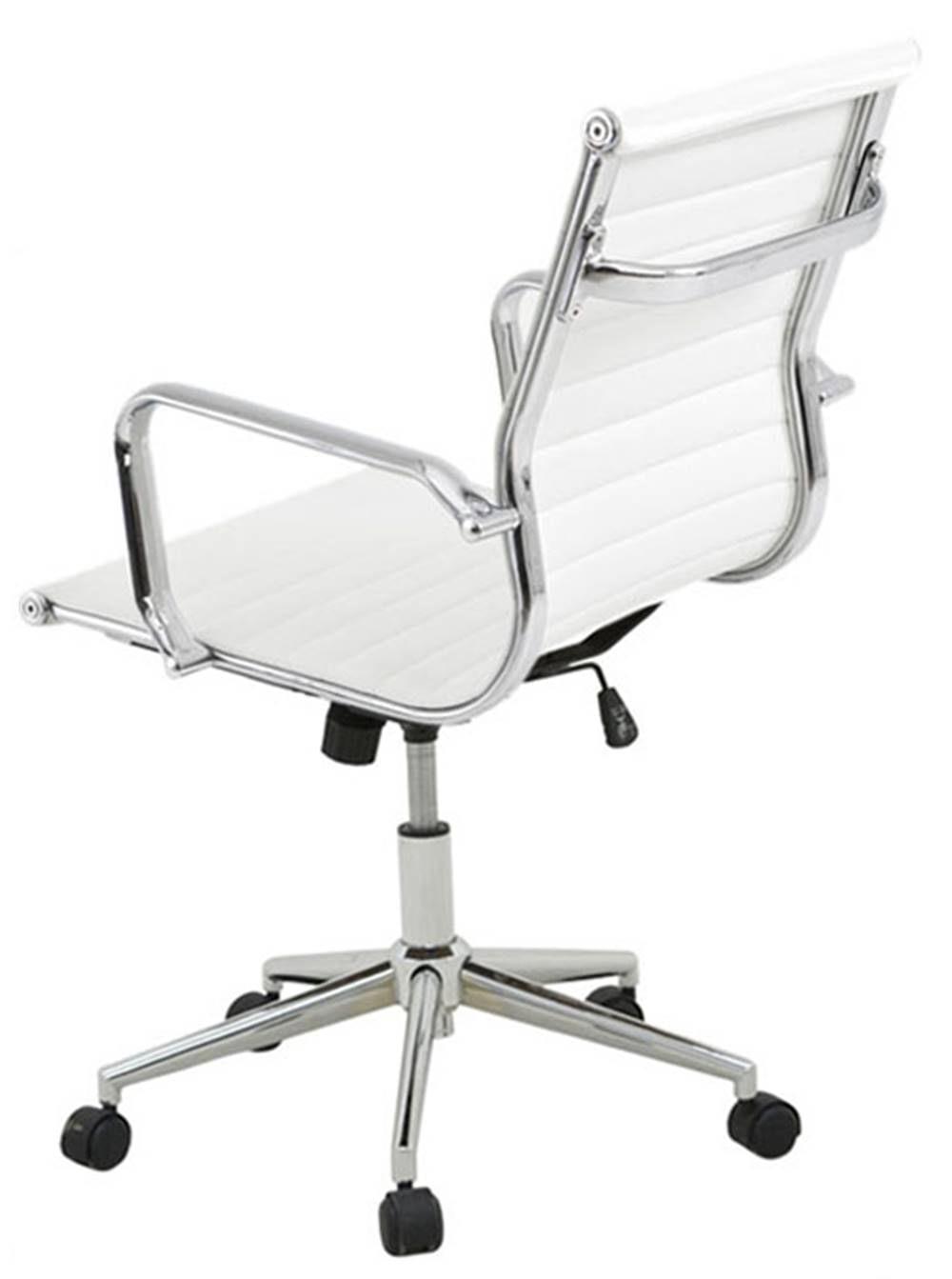 Cadeira Sevilha Eames Baixa Cromada PU Branco - 8748