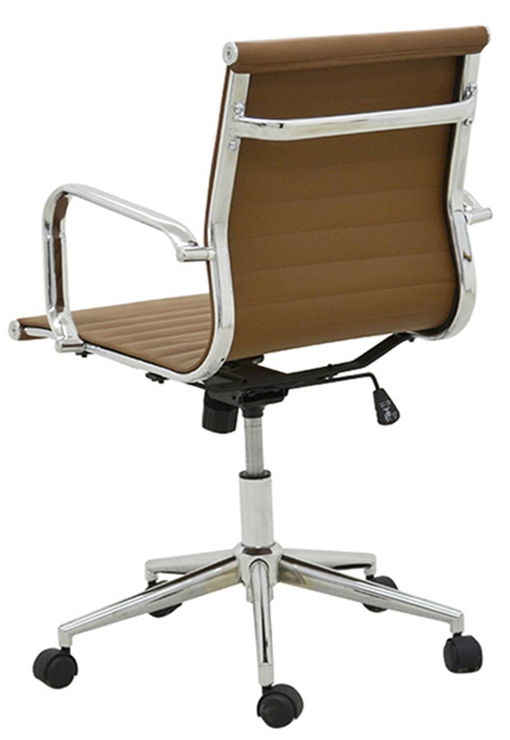 Cadeira Sevilha Eames Baixa Cromada PU Marrom Escuro - 37792