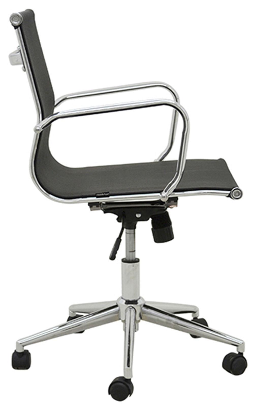 Cadeira Sevilha Eames Baixa Cromada Tela Preta - 38053