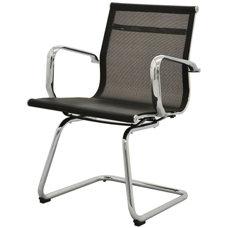 Cadeira-Sevilha-Eames-Fixa-Cromada-Tela-Preta