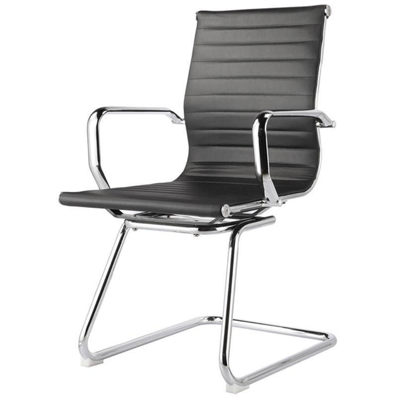 Cadeira-Sevilha-Eames-Fixa-Cromada-PU-Preto