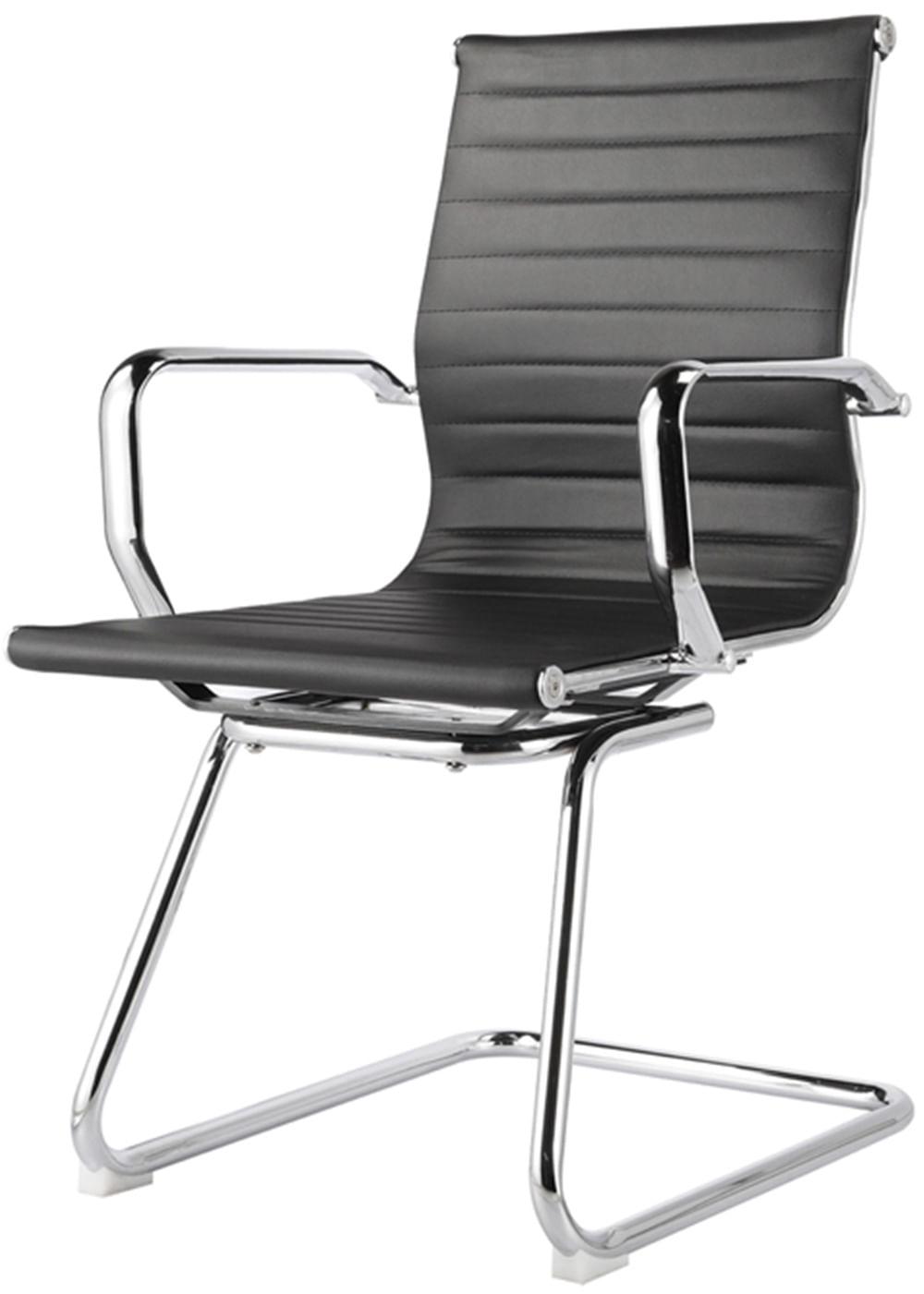 Cadeira Sevilha Eames Fixa Cromada PU Preto - 31112