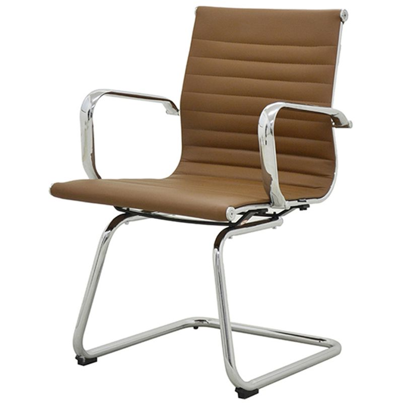 Cadeira-Sevilha-Eames-Fixa-Cromada-PU-Marrom-Escuro