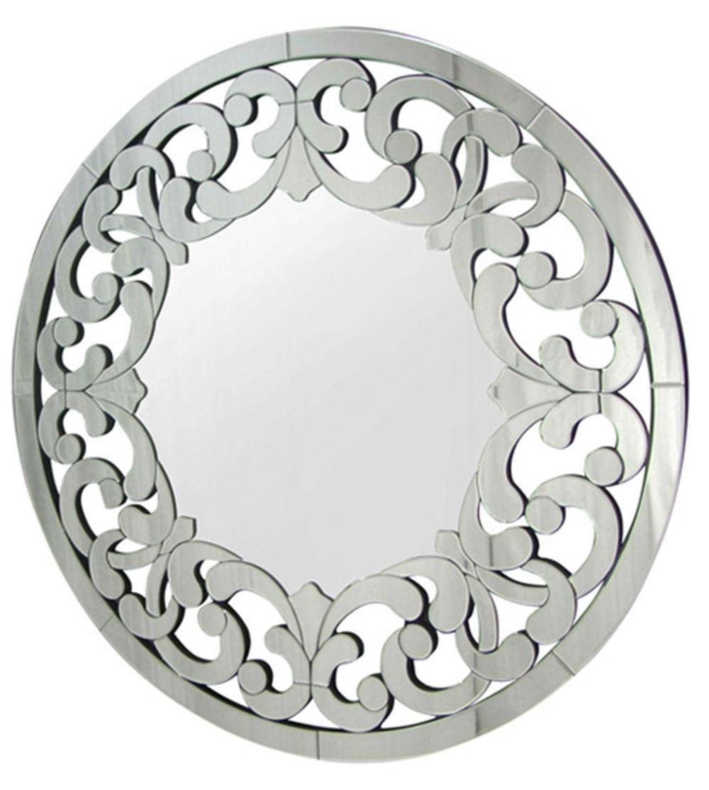 Espelho Veneziano Mandala Cor Prata Redondo 90 cm - 34315