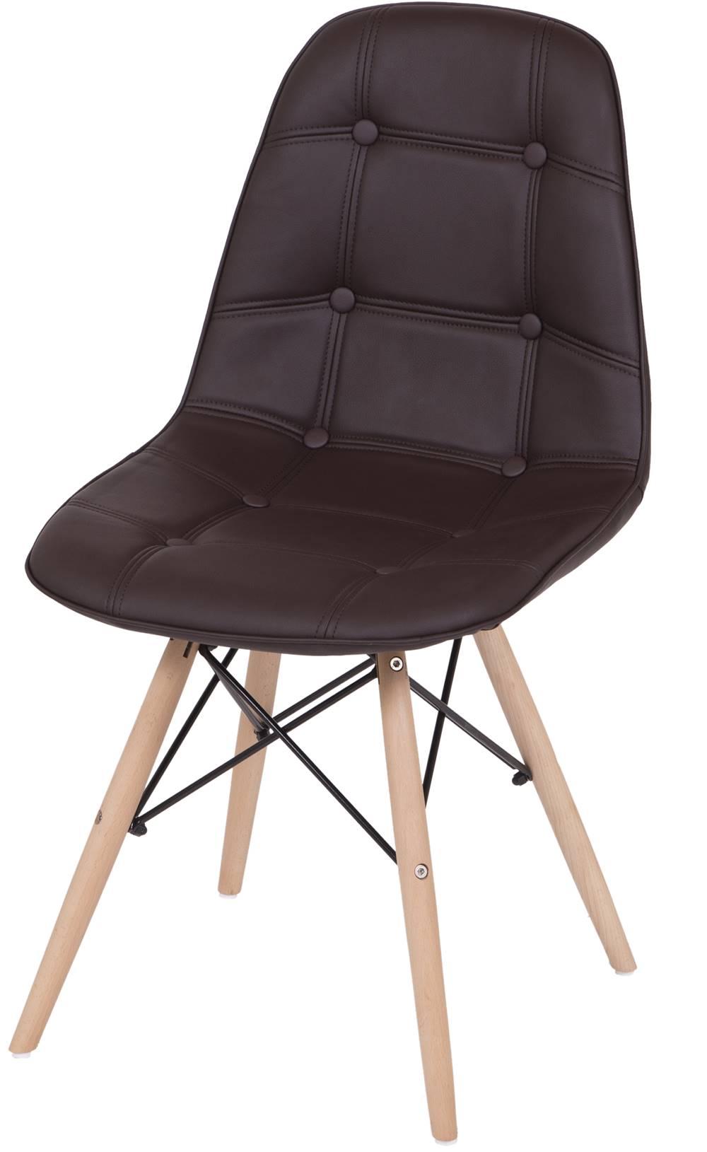Cadeira Eames Botone Marrom Base Madeira - 33895