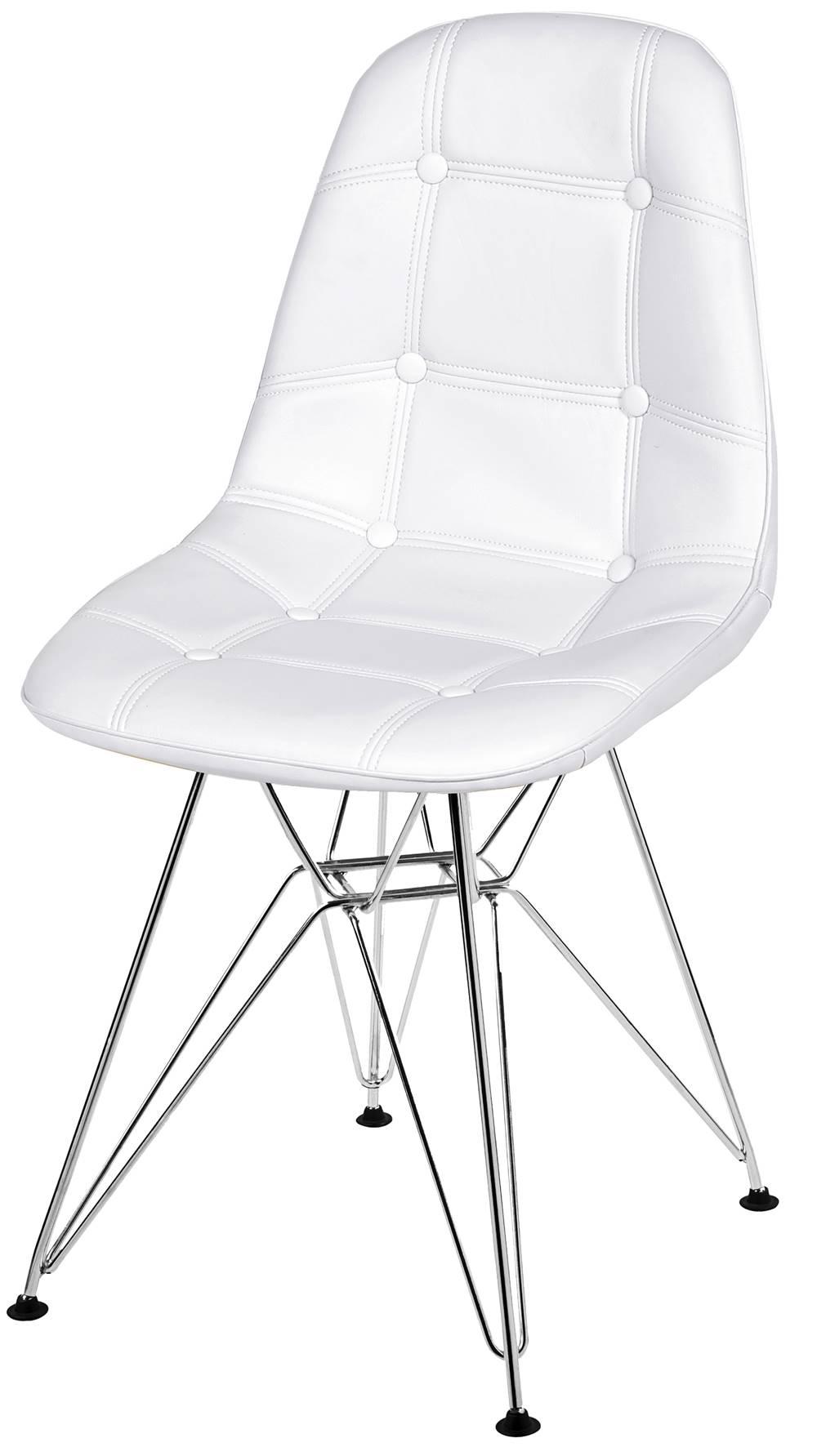 Cadeira Eames Botone Branca Base Cromada - 39064