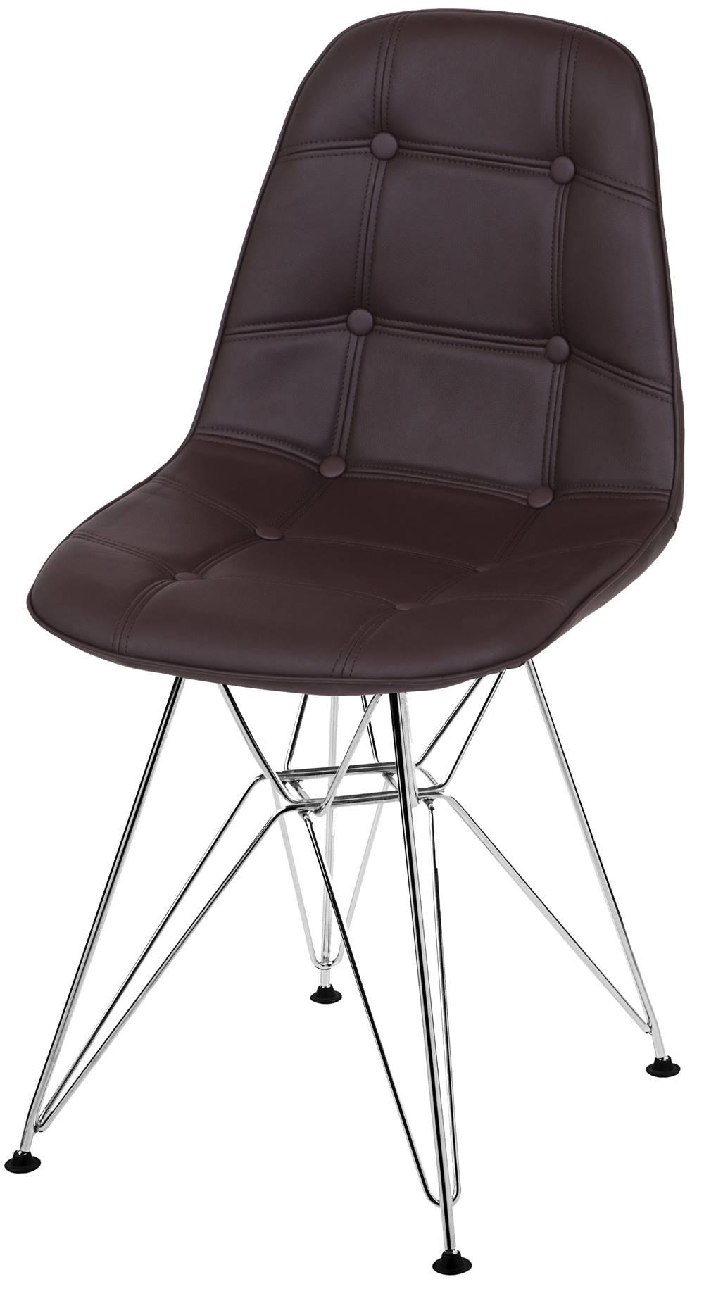 Cadeira Eames Botone Marrom Base Cromada - 39067