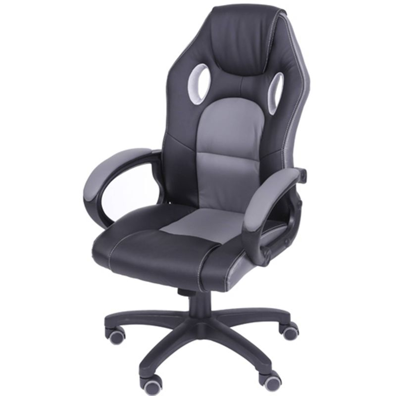 Cadeira Office Racer V16 Preta com Detalhe Cinza Base Nylon - 39276