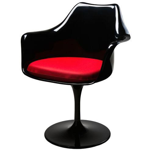 Cadeira-Saarinen-com-Braco-Almofada-PU-Vermelha-Base-Preta