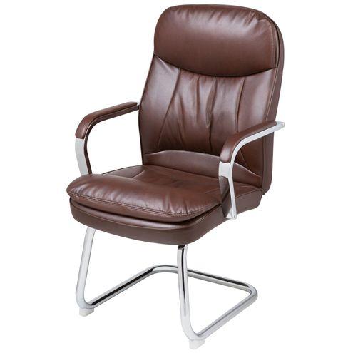 Cadeira-Office-Nantes-Fixa-PU-Marrom-Base-Cromada