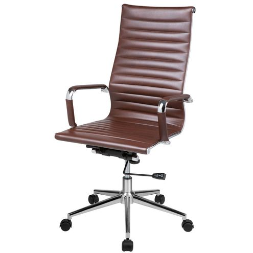 Cadeira-Eames-Office-Alta-PU-Marrom-Base-Cromada