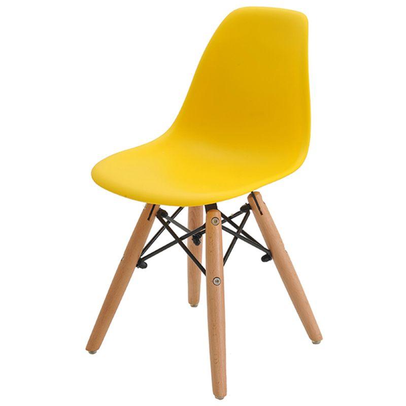 Cadeira-INFANTIL-Eiffel-Polipropileno-Amarelo-Base-Madeira