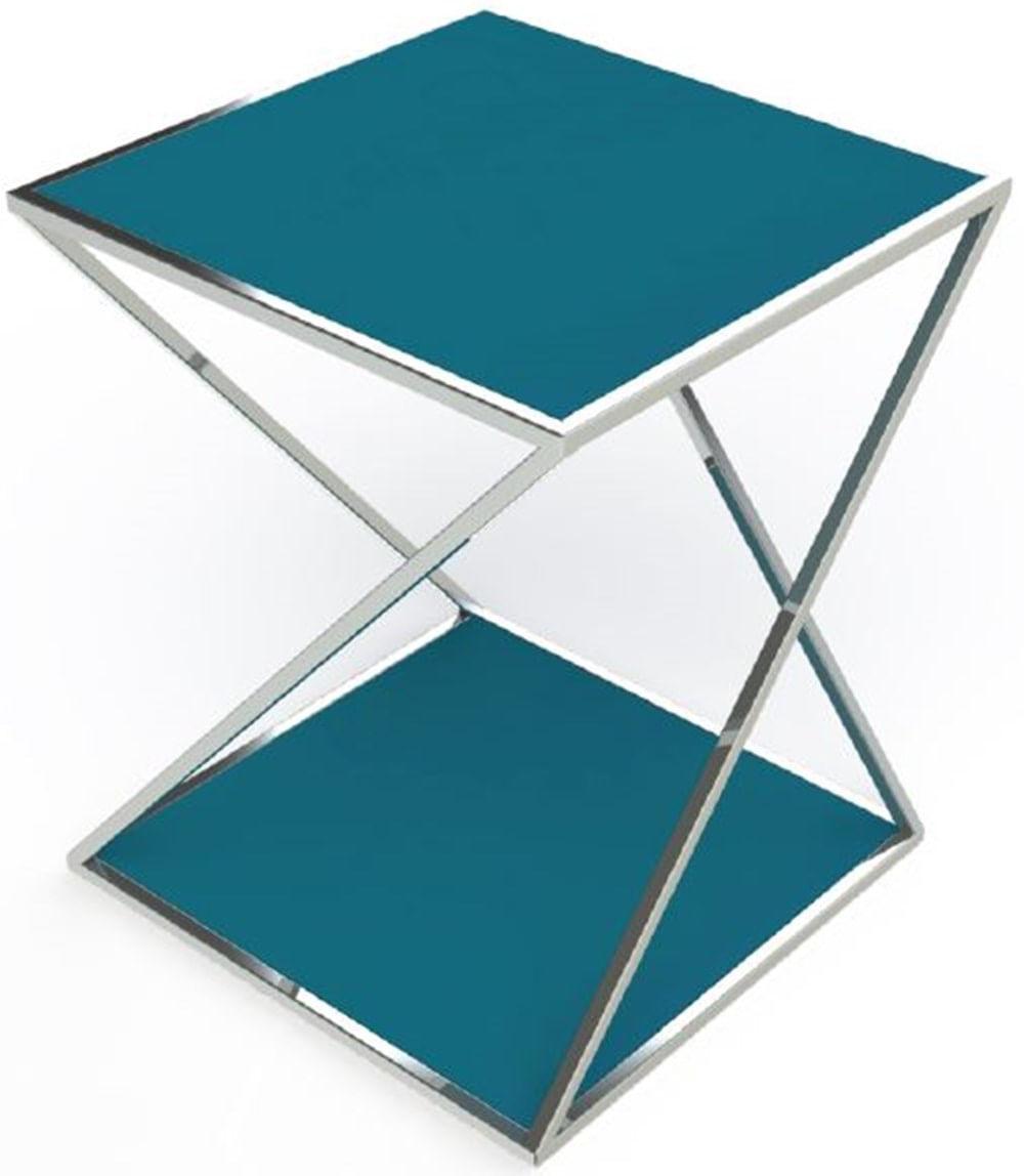 Mesa Lateral Califa Azul Base Cromada 50 cm (LARG) - 40952