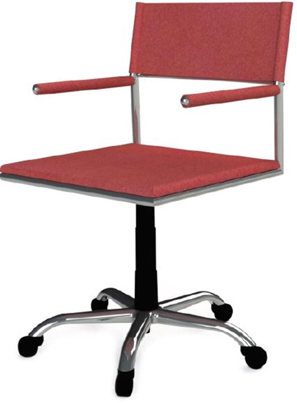 Cadeira Escritorio Elegante Couro Prensado Vermelho Cromada Rodizios - 41036