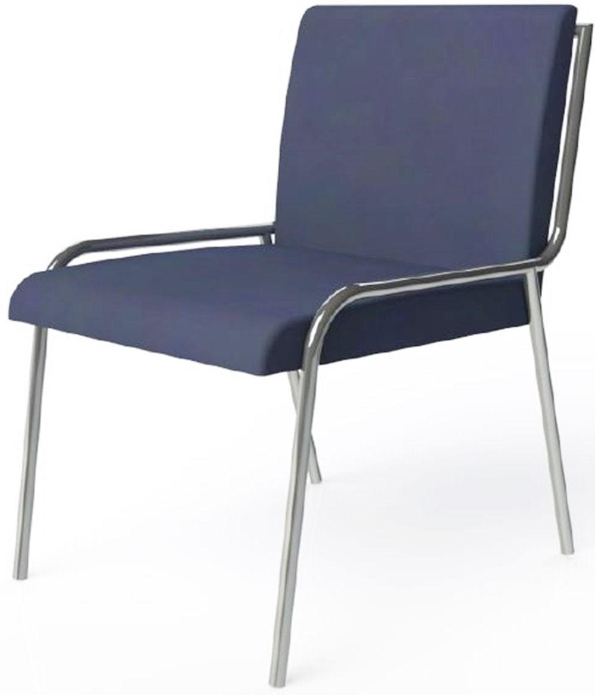 Cadeira Alana Azul Escuro Estofada Estrutura Aco Cromado - 41039