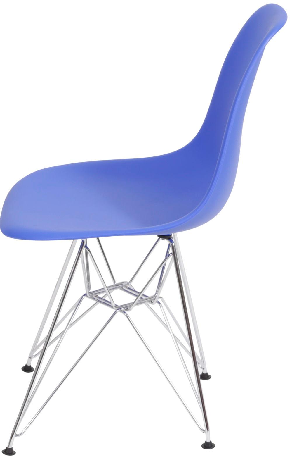 Cadeira Eames Polipropileno Azul Escuro Base Cromada - 40790