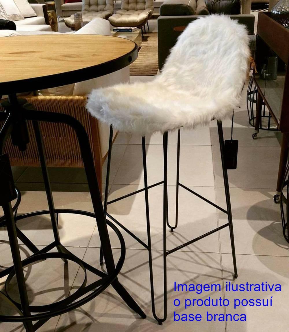 Banqueta Invisi Pele Sintetica Branca Base Branca 98 cm (ALT) - 41388