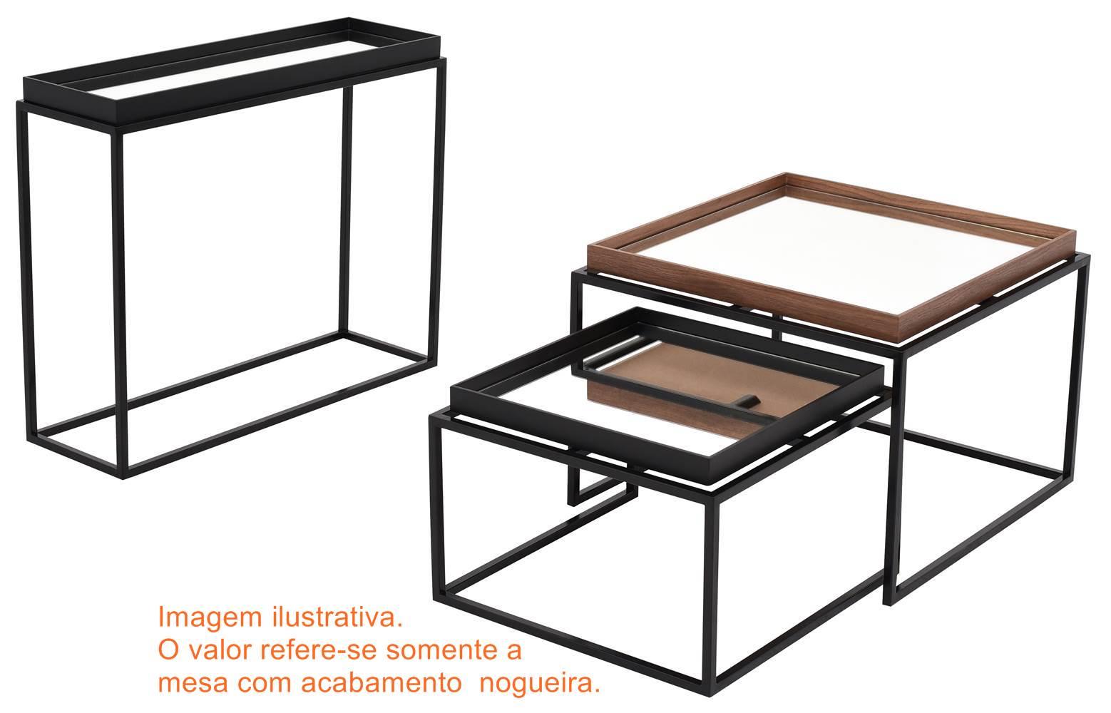 Mesa Centro Loi Alta Nogueira Espelho Base Preta 60 cm (LARG) - 41622