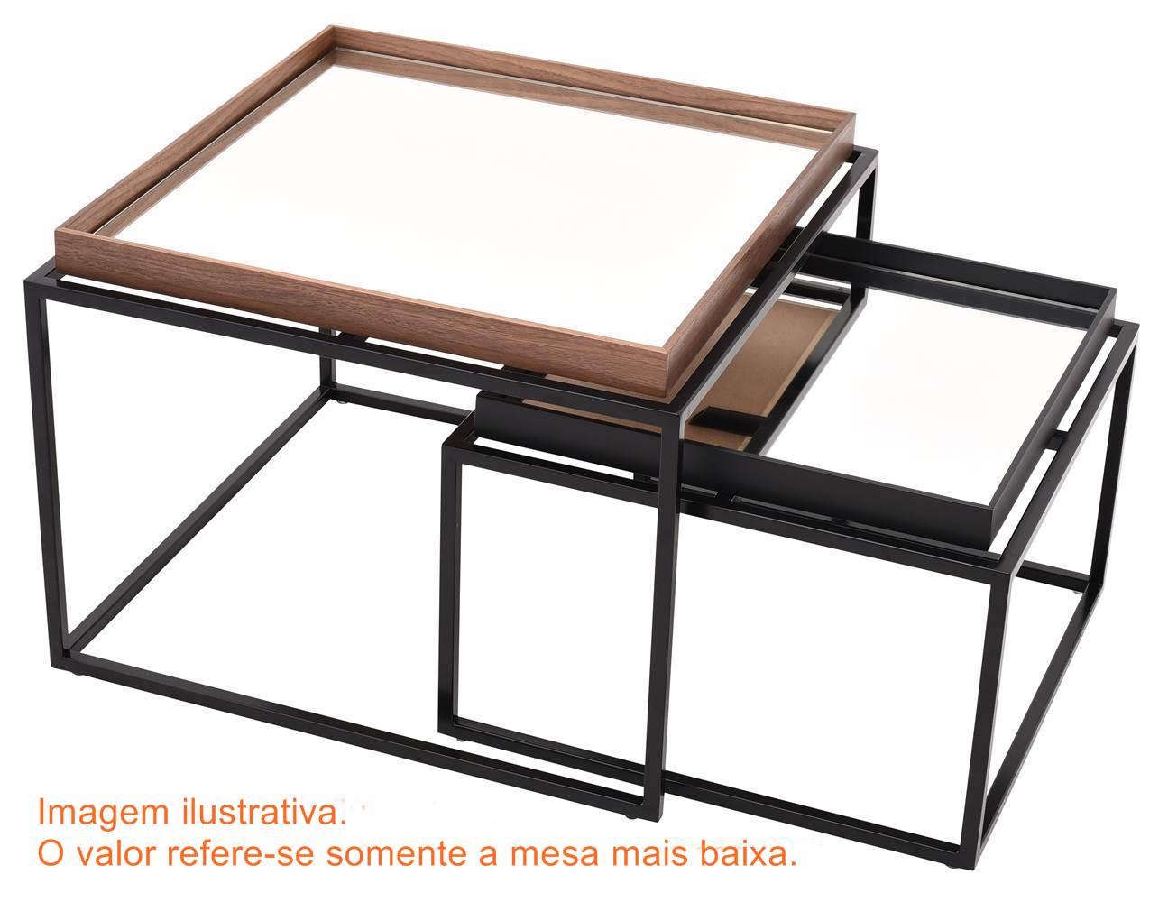 Mesa Centro Loi Baixa Preta Espelho 50 cm (LARG) - 41623