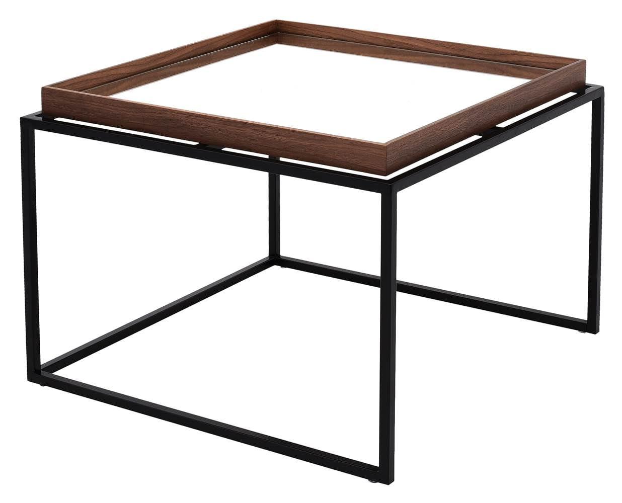 Mesa Centro Loi Baixa Nogueira Espelho Base Preta 50 cm (LARG) - 41624
